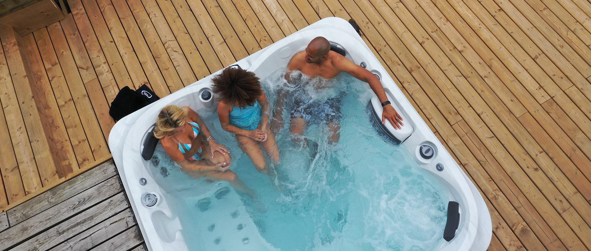 Jacuzzi hot tub backyard friends