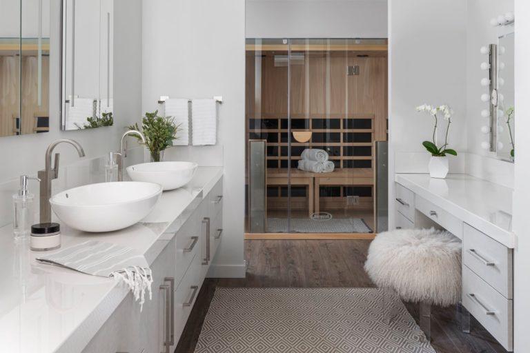 Infrared sauna in a modern bathroom