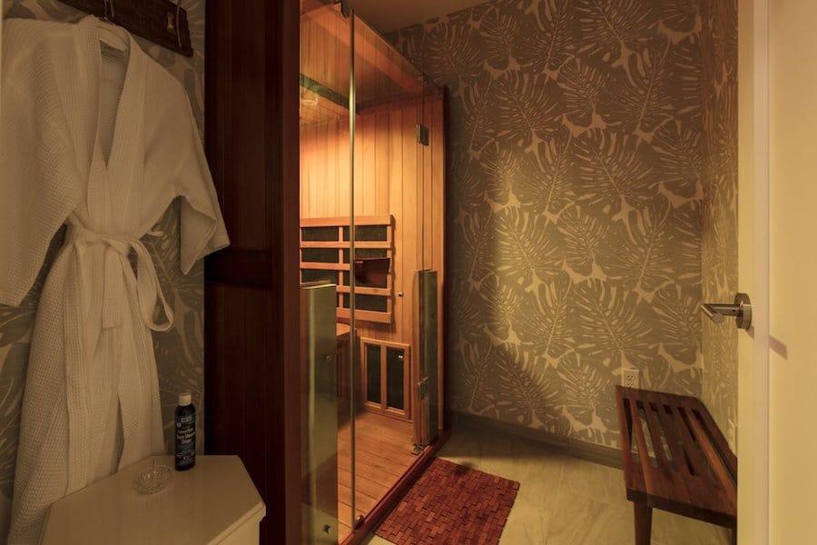 Infrared sauna unit installed in basement