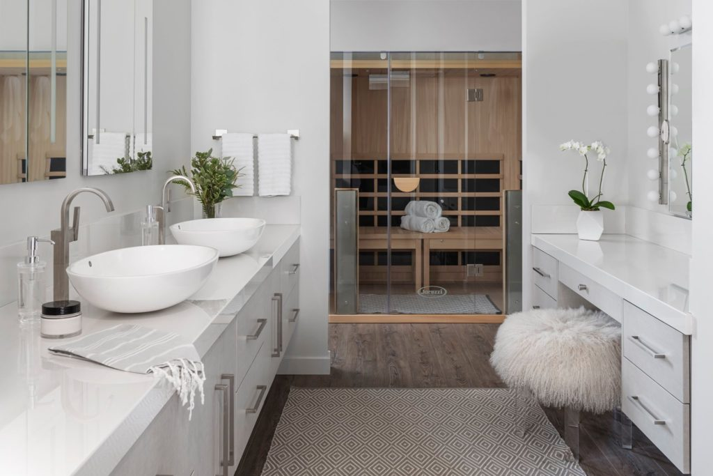 Modern Bathroom Brought to Life with Sauna for Sale in Vaughan